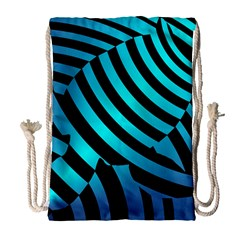 Turtle Swimming Black Blue Sea Drawstring Bag (large)