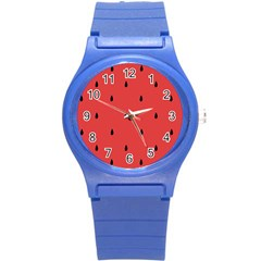 Watermelon Seeds Red Round Plastic Sport Watch (s) by Jojostore