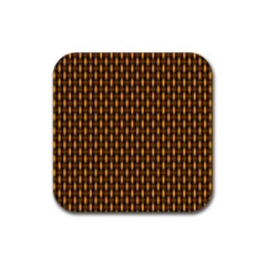 Webbing Woven Bamboo Orange Yellow Rubber Square Coaster (4 Pack)