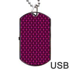 Webbing Woven Bamboo Pink Dog Tag Usb Flash (one Side)