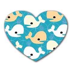 Whole Sea Animals Heart Mousepads