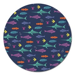 Twiddy Tropical Fish Pattern Magnet 5  (round) by Jojostore