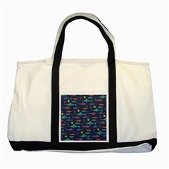 Twiddy Tropical Fish Pattern Two Tone Tote Bag