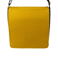 Yellow Flower Flap Messenger Bag (l)  by Jojostore