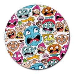 Weird Faces Pattern Round Mousepads by Jojostore
