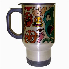 Weird Faces Pattern Travel Mug (silver Gray)