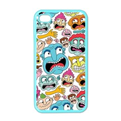Weird Faces Pattern Apple Iphone 4 Case (color)