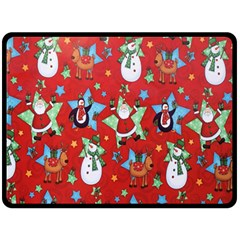 Xmas Santa Clause Double Sided Fleece Blanket (large)  by Jojostore