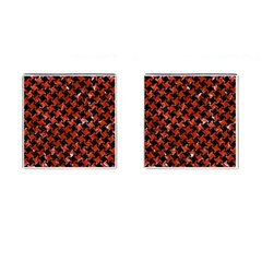 Houndstooth2 Black Marble & Red Marble Cufflinks (square) by trendistuff