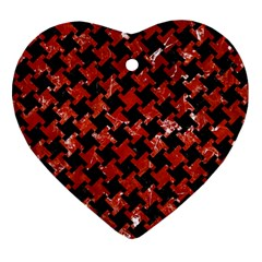 Houndstooth2 Black Marble & Red Marble Heart Ornament (two Sides) by trendistuff