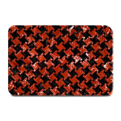 Houndstooth2 Black Marble & Red Marble Plate Mat by trendistuff