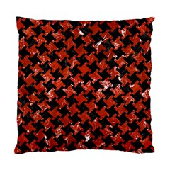 Houndstooth2 Black Marble & Red Marble Standard Cushion Case (one Side) by trendistuff