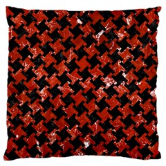 Houndstooth2 Black Marble & Red Marble Large Cushion Case (two Sides) by trendistuff