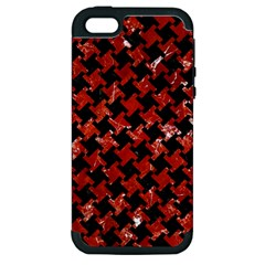 Houndstooth2 Black Marble & Red Marble Apple Iphone 5 Hardshell Case (pc+silicone) by trendistuff