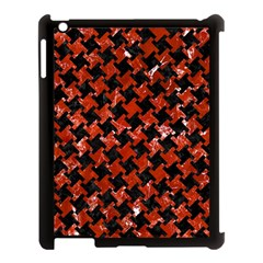 Houndstooth2 Black Marble & Red Marble Apple Ipad 3/4 Case (black) by trendistuff