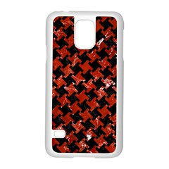 Houndstooth2 Black Marble & Red Marble Samsung Galaxy S5 Case (white) by trendistuff
