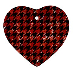 Houndstooth1 Black Marble & Red Marble Ornament (heart) by trendistuff