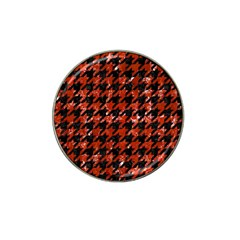 Houndstooth1 Black Marble & Red Marble Hat Clip Ball Marker (4 Pack) by trendistuff