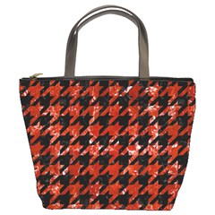 Houndstooth1 Black Marble & Red Marble Bucket Bag by trendistuff