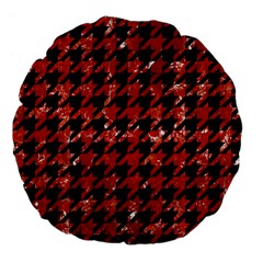Houndstooth1 Black Marble & Red Marble Large 18  Premium Flano Round Cushion  by trendistuff
