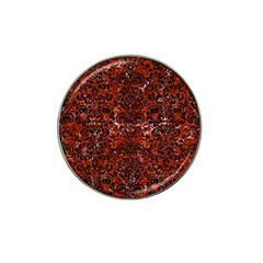 Damask2 Black Marble & Red Marble (r) Hat Clip Ball Marker (4 Pack) by trendistuff