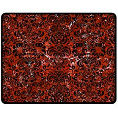 Damask2 Black Marble & Red Marble (r) Fleece Blanket (medium) by trendistuff