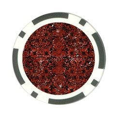 Damask2 Black Marble & Red Marble Poker Chip Card Guard by trendistuff