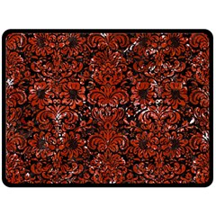 Damask2 Black Marble & Red Marble Double Sided Fleece Blanket (large) by trendistuff