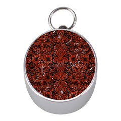 Damask2 Black Marble & Red Marble Silver Compass (mini) by trendistuff