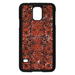 Damask2 Black Marble & Red Marble Samsung Galaxy S5 Case (black) by trendistuff