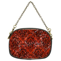 Damask1 Black Marble & Red Marble (r) Chain Purse (two Sides) by trendistuff