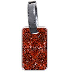 Damask1 Black Marble & Red Marble (r) Luggage Tag (two Sides) by trendistuff