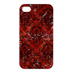 Damask1 Black Marble & Red Marble (r) Apple Iphone 4/4s Premium Hardshell Case by trendistuff