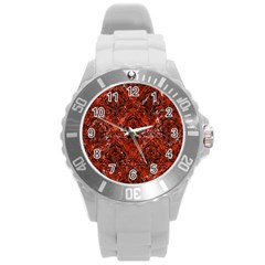 Damask1 Black Marble & Red Marble (r) Round Plastic Sport Watch (l) by trendistuff