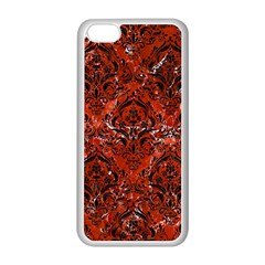 Damask1 Black Marble & Red Marble (r) Apple Iphone 5c Seamless Case (white) by trendistuff