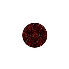 Damask1 Black Marble & Red Marble 1  Mini Button by trendistuff