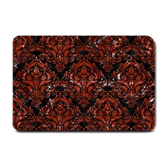 Damask1 Black Marble & Red Marble Small Doormat by trendistuff