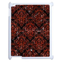 Damask1 Black Marble & Red Marble Apple Ipad 2 Case (white) by trendistuff