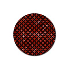 Circles3 Black Marble & Red Marble (r) Rubber Round Coaster (4 Pack) by trendistuff