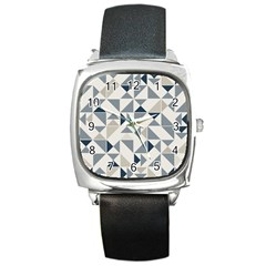 Geometric Triangle Modern Mosaic Square Metal Watch by Amaryn4rt