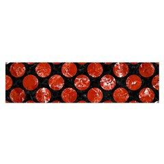 Circles2 Black Marble & Red Marble Satin Scarf (oblong) by trendistuff
