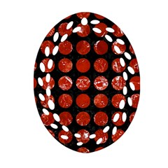 Circles1 Black Marble & Red Marble Ornament (oval Filigree) by trendistuff