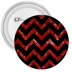 Chevron9 Black Marble & Red Marble 3  Button by trendistuff