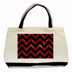 Chevron9 Black Marble & Red Marble Basic Tote Bag by trendistuff