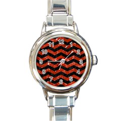 Chevron3 Black Marble & Red Marble Round Italian Charm Watch by trendistuff