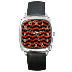Chevron3 Black Marble & Red Marble Square Metal Watch by trendistuff