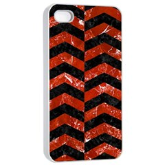 Chevron2 Black Marble & Red Marble Apple Iphone 4/4s Seamless Case (white) by trendistuff