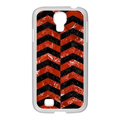 Chevron2 Black Marble & Red Marble Samsung Galaxy S4 I9500/ I9505 Case (white) by trendistuff