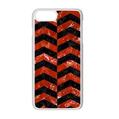 Chevron2 Black Marble & Red Marble Apple Iphone 7 Plus White Seamless Case by trendistuff
