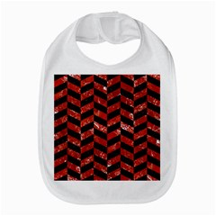 Chevron1 Black Marble & Red Marble Bib
